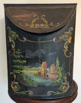 """Antique Hand Painted Folk Art Toleware Tea Tin Box General Store Canister 15""""T"""