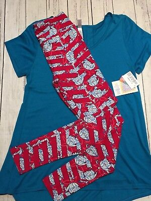 Lularoe Outfit Classic T Small Sud Turquoise & Os Red & Turquoise Floral