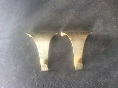 Pair 2 Vintage Edwardian Early c20th Brass Picture Hooks