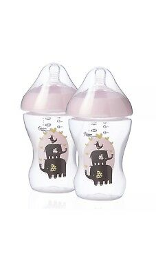 Tommee Tippee Box of 2 Ultra Baby Feeding Bottles With Pink Teat Hood 260ml NEW