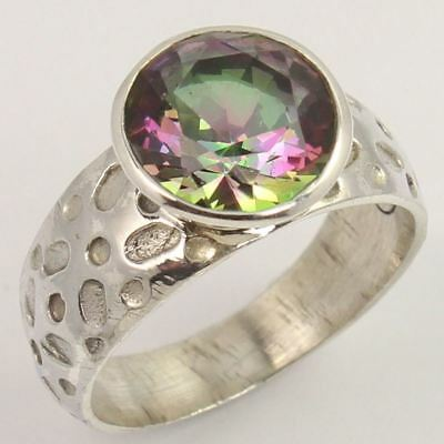 925 Sterling Silver MYSTIC QUARTZ Gemstone Antique Collection Ring Size US 6.75