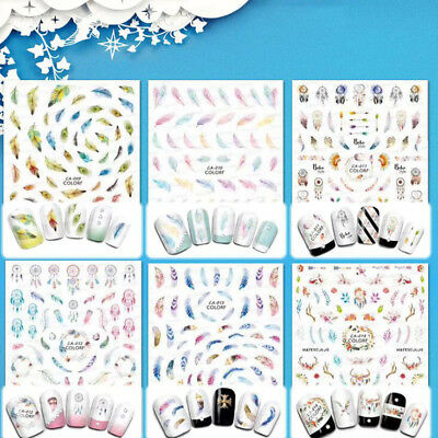 B91B Kawaii 10 In 1 Feather  Paster Transfer Nail Art Nail Stickers Manicure