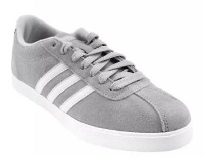buy popular 4b938 a2fd2 Adidas Courtset W Tennis Onix White Silver Gray Suede Womens 10 Sneakers  AW4209