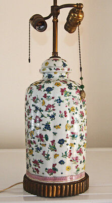 Chinese Export Famille Flower Porcelain Vase Lamp antique