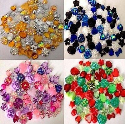 100 x Mixed Flatbacks Hearts Resin Pearls Bow Gem Flower Embellishments Cabochon