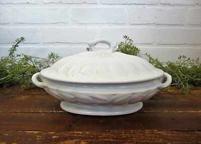 Antique White Ironstone Turner Goddard Wheat Covered Casserole Vegetable Tureen