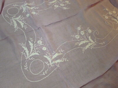 Vintage Fine Linen Semi Sheer Tablecloth  White Floral Embroidery Banquet Size