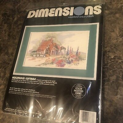 Dimensions HOLLYHOCK COTTAGE Flowers Sheep Cross Stitch Kit #3683 NEW SEALED