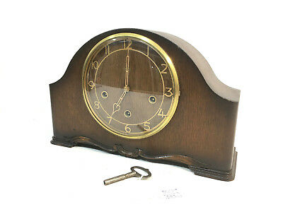 VINTAGE WOODEN MANTEL SMITHS ENFIELD 8 Day CLOCK WESTMINSTER CHIMES KEY WINDER