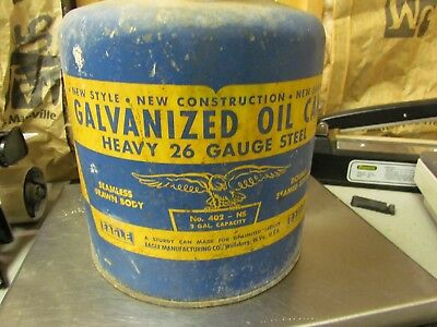 VERY NICE EAGLE GALVANIZED OIL GAS CAN No. 402 26 GUAGE STEEL WOOD HANDLE 2 GAL