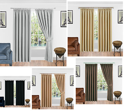 Thermal Blackout Ready Made Curtains Pair Tape-Pencil Pleat With Free Tie Backs