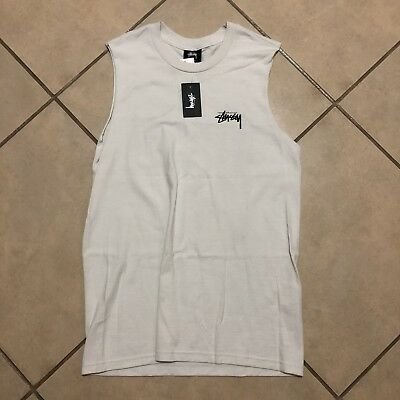 b7b62ea4 Stussy Womens Stock Logo Raw Muscle T Shirt Stone Size Xs New With Tags