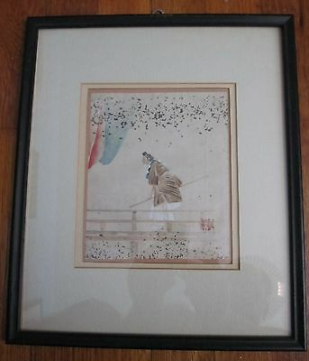 Vintage Japan watercolor Shinto Priest warrior SIGNED Japanese painting Chinese?