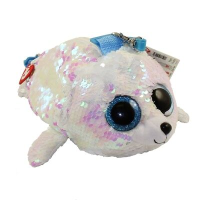"""2018 TY 8"""" ICY White Seal Fashion Flippy Color Changing Sequin Glam Purse Strap"""