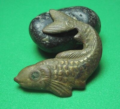 Very old thing is excavation Fish Lining Decoration Antique Rare Ex76