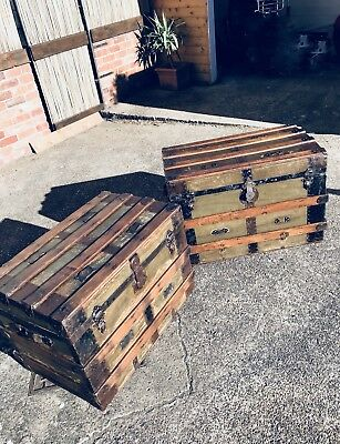Pair Of Genuine Antique Chests / Travel Trunks, Stackable, VERY OLD