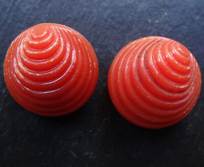 vintage art deco retro 1940s coral pink lucite shell clip on earrings -8