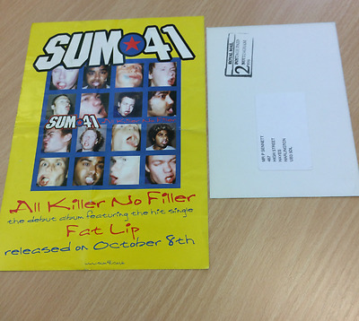 Sum 41 - Fat Lip Flyer - Sum On Your Face Tour Postcard Punk  Free P+P