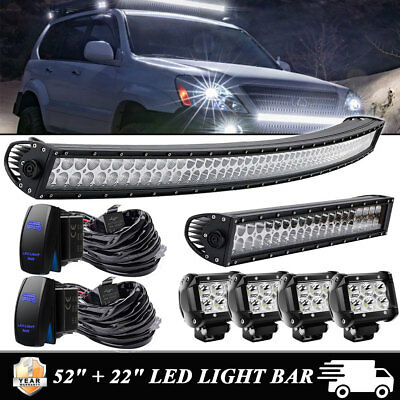 52inch +22'' LED Curved Light Bar Combo+4x 4'' Pods Offroad SUV Tractor  UTE