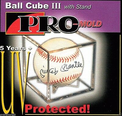 36 Pro Mold Baseball Cube III with Stand UV Display Case Holders Ball Cradle