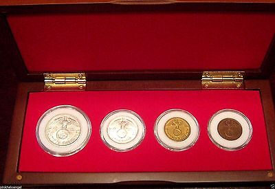 German WW 2 Collection Cherry Wood Display Box Set 4 Third Reich Coins