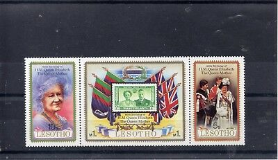 LESOTHO 1980   H  M Queen Mother 80th Birthday SG  423 to 425  MNH