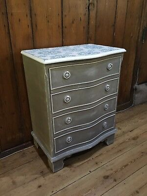 Painted Antique Style Serpentine Chest of Drawers / Lamp Stand Bedside Cabinet