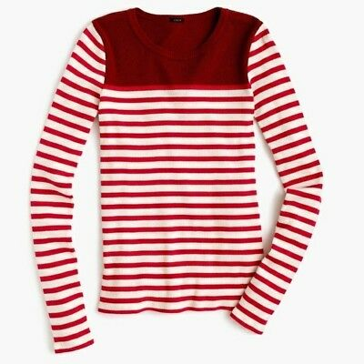 990c67bc597242 J. CREW WOMENS Place-Striped Ribbed T-Shirt Top Red Orange White Sz ...