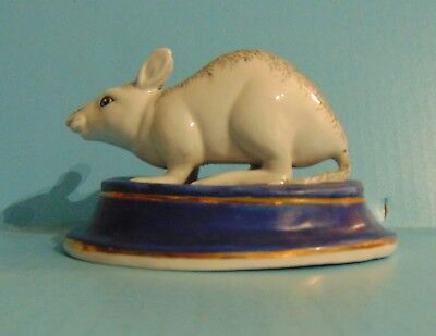 Hand Painted Ceramic White Rat Mouse Figurine on Pedestal