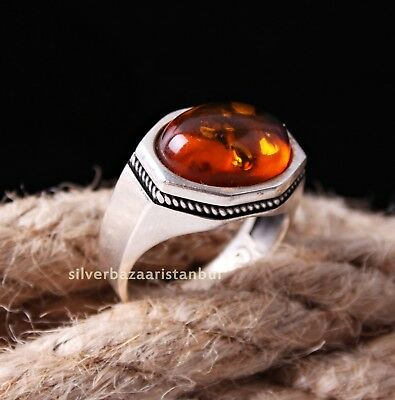 Turkish 925 Sterling Silver Showy orange amber stone Mens ring ALL SİZE us