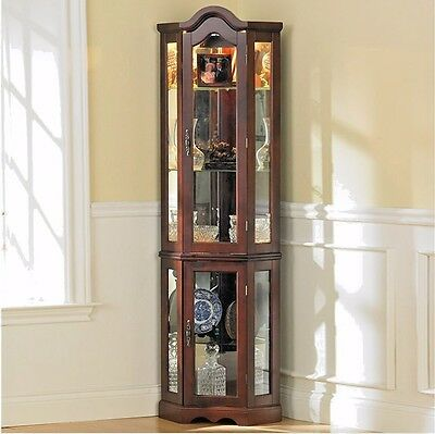 Corner Curio Cabinet Small China Glass Door With Light Mirrored