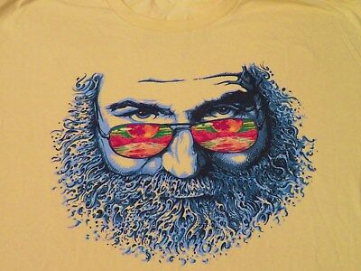 Garcia Tee Shirt Jerry W/ Sunglasses Looking At Sunset On Ocean And Mountains Xl