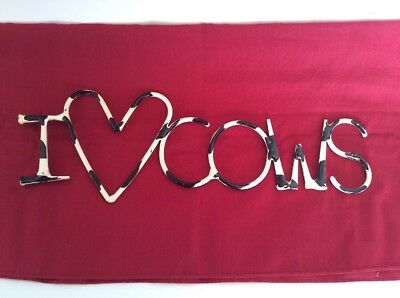 """""""I LOVE COWS"""" Vintage Sign, 11.5"""" X 4"""" Dairy Cow, Holstein ** FREE SHIP **"""