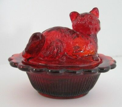 Mosser Valentine Red Glass Cat On Basket Salt Cellar, Trinkets, Ring Holder