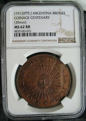 1913 PTS J Argentina Bronze COINAGE CENTENARY MEDAL 39mm NGC MS-62 RB