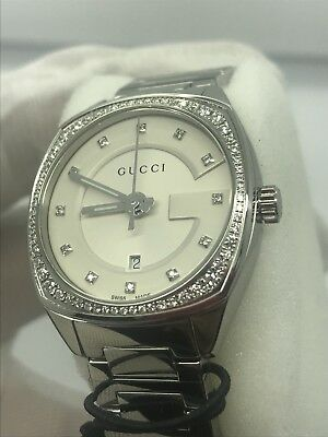 f3c358d763a Gucci GG2570 White Dial Stainless Steel Diamond Ladies Watch YA142505