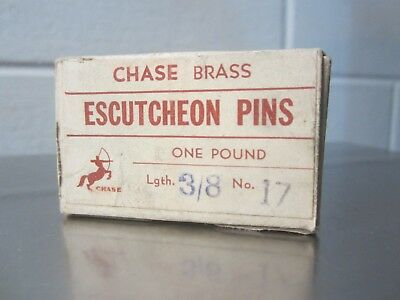 "1 lb box Chase Brand All Brass Escutcheon Pins , 3/8"" x 17 gauge, Old Stock, USA"