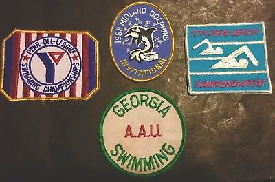 Vintage Swimming Meet Badges Patches FREE SHIPPING!