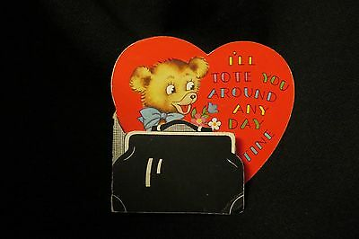 Vintage Tote And Bear Valentine Card 1940S
