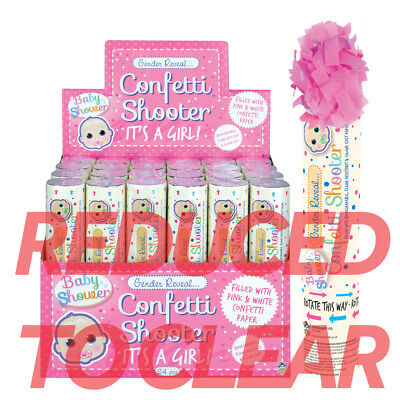 20cm Pink Its A Girl Confetti Shooter Compressed Air Cannon Party Poppers