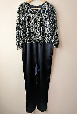 70s 80s vintage sparkly lurex jumpsuit 14 16 disco party black satin silver