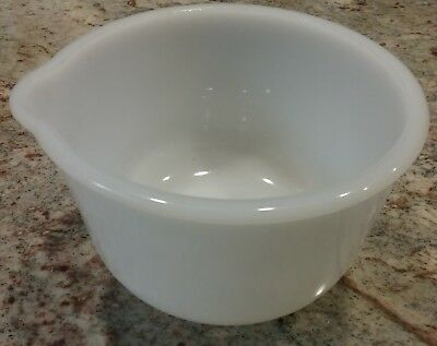 Vintage Glasbake Milk Glass Mixing Bowl w/Spout #15 for Sunbeam Mixer Ships Free