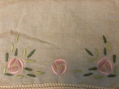 """64"""" Long Antique Arts & Crafts Mission Stickley Embroidered Linen Table Runner"""