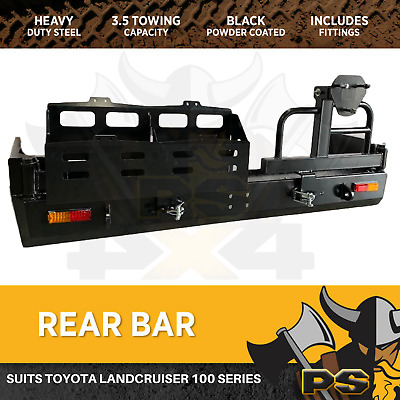 Rear Bar Spare Wheel Carrier Dual to suit Toyota Landcruiser 100 Series Heavy Du