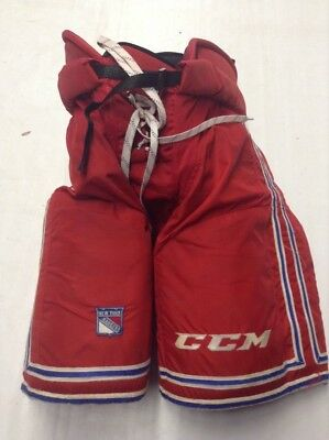 CCM HP UCLP Custom Pro Stock Hockey Pants Red Large New York Rangers Used  Kotyk