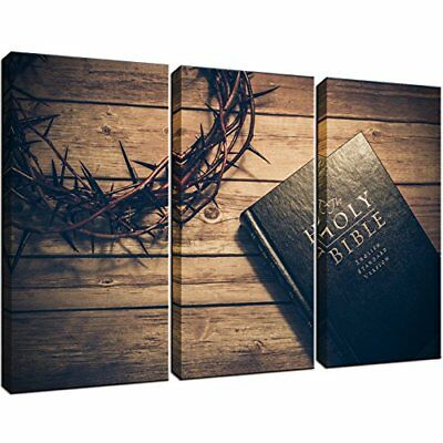 KLVOS - 3 Panels The Christian Bible Painting and Crown of Thorns Posters for to