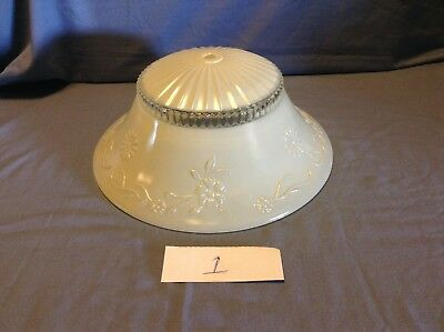 Vintage White/Frosted & Clear Glass Embossed Ceiling Light Shade Globe 3 Choices