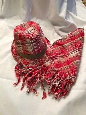 Girl's Red Plaid Hat and Scarf Set