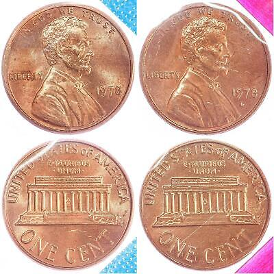 1978 P D Lincoln Memorial Cent BU US Mint Cello 2 Coin Penny Set