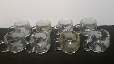 Nescafe Nestle 8 World Mugs Globe Cups Etched Glass Food Beverage Advertising